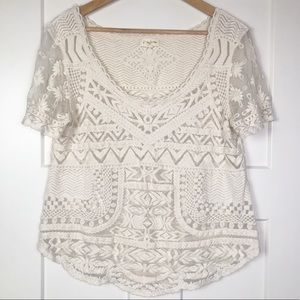 Anthropologie Meadow Rue White Lace Top Large